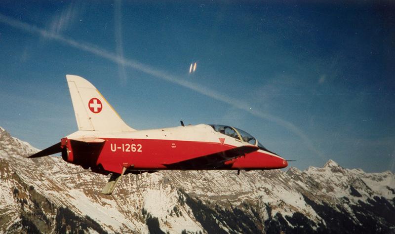ehemaliger Hawk Jet-Trainer der Schweizer Luftwaffe